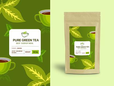 green tea pack 500g india of ever best tea green illustrator vector branding minimal design art typography illustration icon flat
