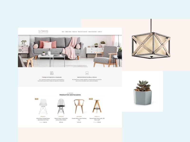 Online E-commerce Furniture Store pink furniture store light blue ecommerce web ui website web design design