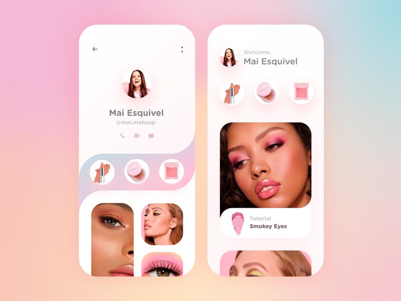 Social Media App for MakeUp Artists makeup app app ui design