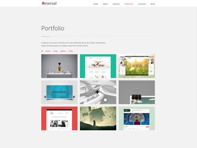 Reversal - Horizontal One Pager wordpress web design portfolio one page website design theme grid ui minimal