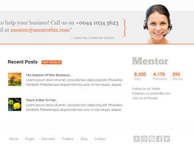 Mentor Template's Footer Layout template website responsive design ui footer layout widget posts