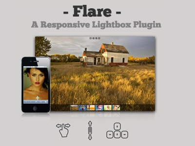 Flare Responsive Lightbox jQuery Plugin jquery responsive lightbox ui mobile design gallery image touch fullscreen transition
