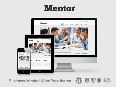 Mentor - Responsive Business WordPress Theme wordpress theme responsive website design ui tablet iphone business ios clean minimal