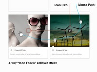 4-Way Icon Follow Rollover Effect