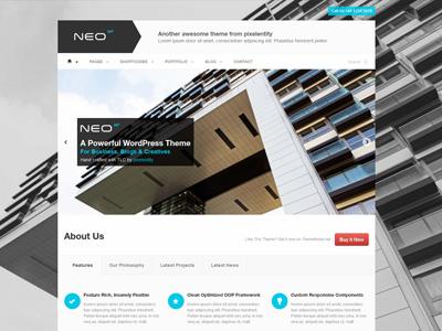 Neo Responsive WordPress Theme - Synced Sliders slider fullscreen wordpress theme responsive premium website ui design business themeforest ipad iphone ios andorid