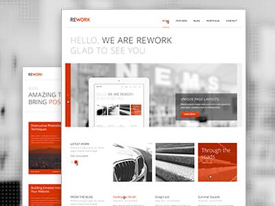 REWORK Clean Responsive WordPress Theme theme wordpress website design ui homepage slider responsive minimal clean modern white