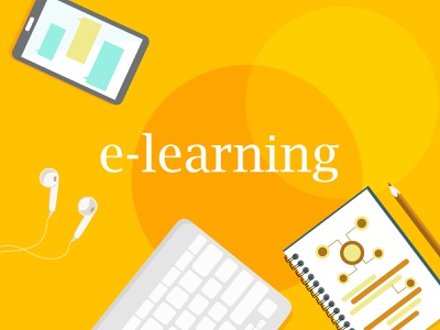 e-learning desk workplace flatdesign flat illustration flat design flat design education online education elearning el-learning