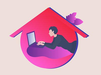 work from home studyathome stayathome woman girl illustration flat girl home work from home work