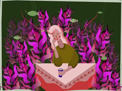 Aquarium girl digital illustration art flat illustration flat design character characterdesign aquarium plants nature girl illustration digitalart women girl