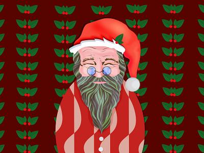 Santa Claus postcard man flat pattern vector illustration card design christmas charactersdesign character holidays santaclaus santa