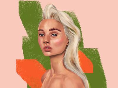 Spring girl portrait concept art drawing artwork woman character illustraion green poster art digital portrait girl spring