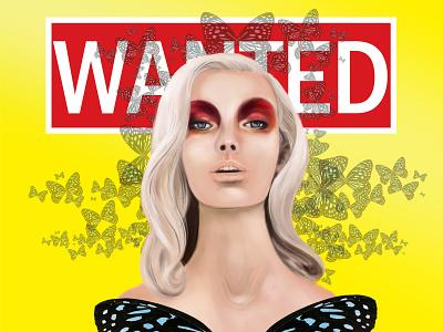 Lady butterfly design illustration art drawing digital portrait woman girl character comics cartoon poster illustration