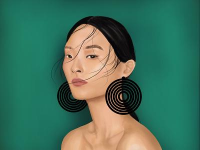 Fashion Girl stylish style concept art character green poster illustration portrait design art digital women girl fashion