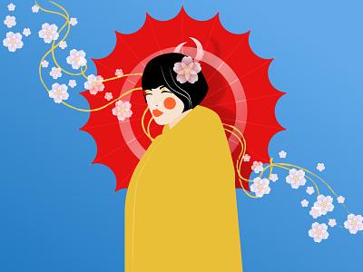 Japanese Geisha cartoon woman digital poster art poster girl character girl 2d character illustration art colorful flat art illustration geisha japanese japan