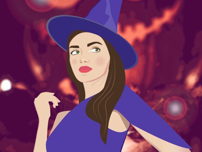 Halloween witch colorful mistic magic scary illustration vector 2d art character cartoon witch girl halloween