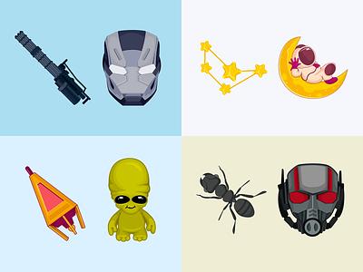 Cute Cursors (War Machine / Ant-Man / Astronaut / Alien) astronaut war machine ant-man alien illustraion cursor marvel