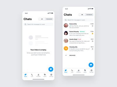 Business Messenger App chatbot automation business empty state message messagenger conversation chat mobile ios design app ux ui