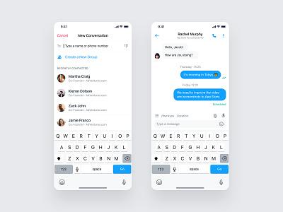 Messenger Conversation call ux design uxdesign ui design chatbot automation business phone message group contacts conversation chat mobile product design ios design app ux ui