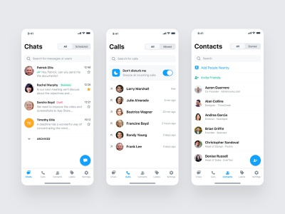 Messenger App messenger product design mobile app ios design ux ui automation business message conversation contacts call chat