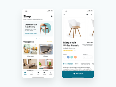 Furniture Shop App shopping cart shopping app ecommerce products product details add to cart online shop furniture store ios app app design ux ui
