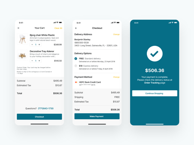 E-commerce Checkout Flow online shopping furniture store order placed payment checkout shopping cart checkout flow ecommerce app app design ux ui