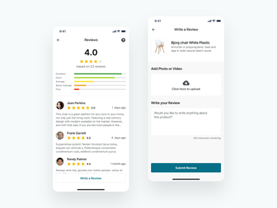 Product Reviews stars ratings reviews online shopping ecommerce app furniture store write review user feedback product ratings product reviews ios app design ux ui