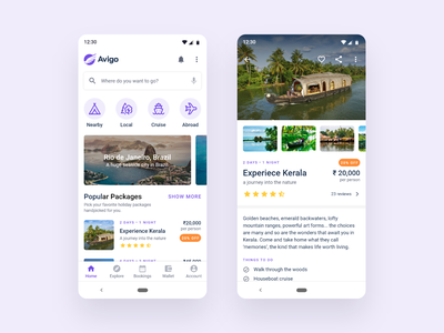 Travel App tourist explore destinations ticket booking tour packages tourism travel app material design android app design ux ui