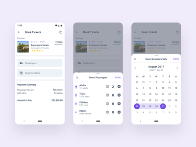 Ticket Booking travel app tourism booking flow android app online ticket booking explore destinations travel agency app tour packages ticket booking material design android app design ux ui