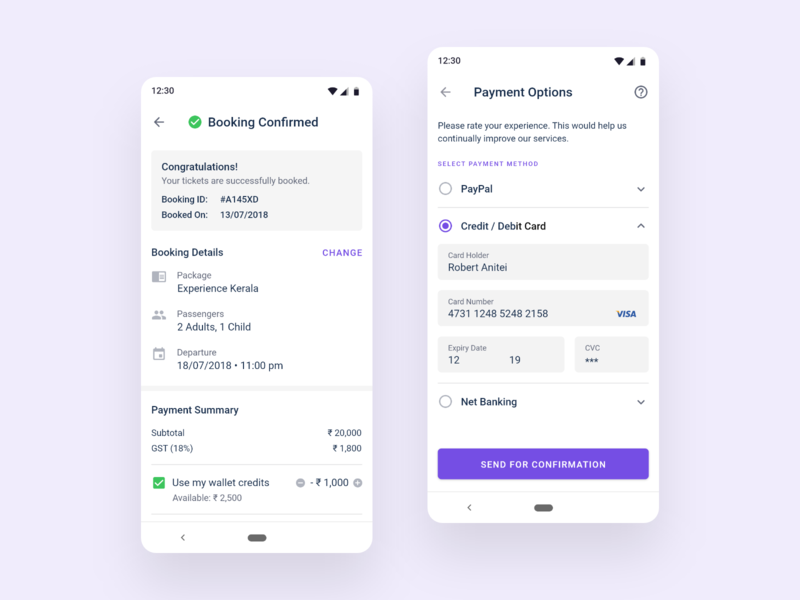 Booking Confirmed booking details payment options travel app tourism travel agency app tour packages booking confirmed ticket booking material design app design ux ui