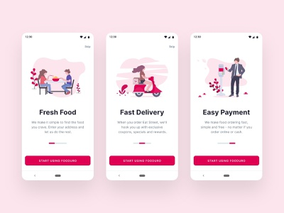 Food Delivery App Onboarding food ordering easy payment fast delivery fresh food online food order food delivery app features illustrations walkthroughs onboarding android material design app design ux ui