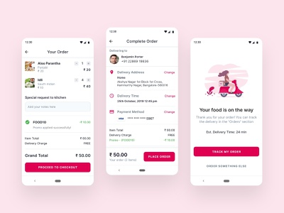 Order Food checkout flow checkout process food delivery app order confirmed payment checkout cart shopping cart food order online food order food ordering app android material design app design ux ui