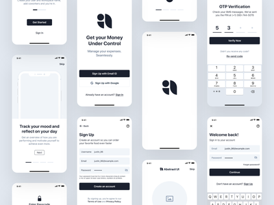 Onboarding UI Kit (Preview) ui kit new user onboarding flow setup profile forgot password launch screen splash screen passcode register sign up login walkthroughs onboarding ios android material design app design ux ui