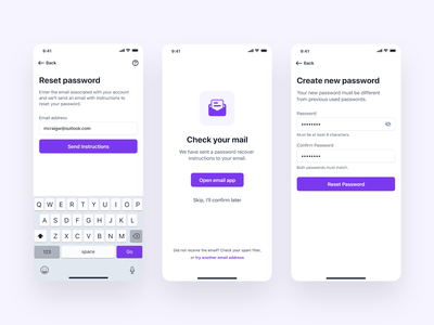 Password Reset Flow forgot password change password reset password mobile app wireframes ui kit new user onboarding flow setup profile ios android app design ux ui material design create account registration sign up login onboarding