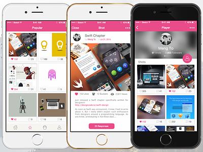 Dribbball - popular, shot & player view ios design dribbble sketchapp