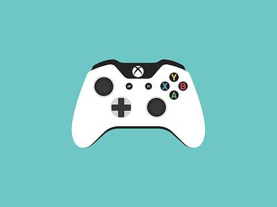 White Xbox One Controller game design xbox flat illustration