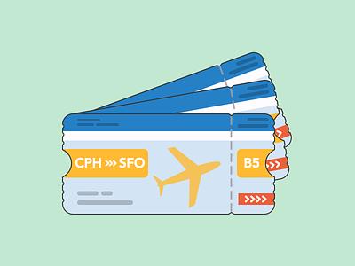 USA tickets flat vacation usa flight tickets illustration