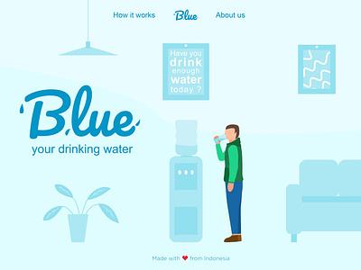 Hero Page Blue Web illustration ui web design ui design hero banner gallon drinking water drinking one page ui  ux vector illustration vector