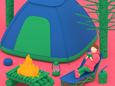 3D Camping Activity book reading camp camping bushcraft forest chill illustration cloth character design 3d