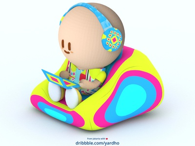 3D Character Work From Home headphone meeting bean bag work from home work 3dart funart characterdesign character design 3d illustration