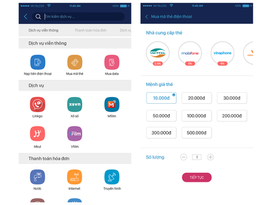 Service payment flat app ux ui design