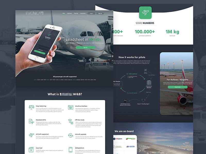 Aircraft platform website aircraft airlines minimal clean pilots platform