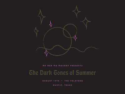 The dark tones of summer. weird shit pink gold dark waves moons stars summer