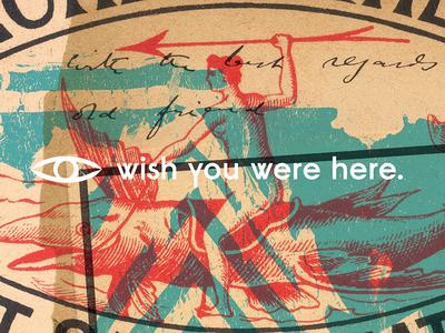 Eye Wish. matchbox text paper vintage eye art postcard gallery