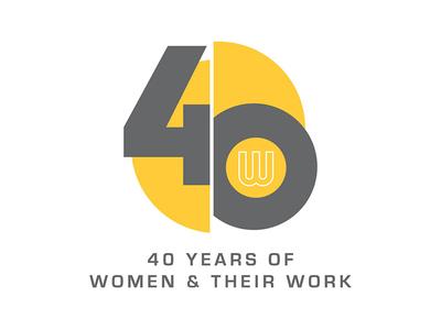 40 Years of W&TW grey yellow branding gallery artists women 40th 40 anniversary logo