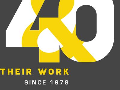W&TW Unused. grey yellow branding gallery artists women 40th 40 anniversary logo
