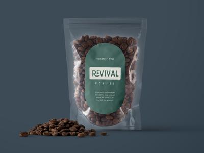 Revival. blue cream green coffee branding logo