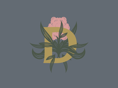 There's Honey in The Hollows. lines honey bees flower d monogram icon branding