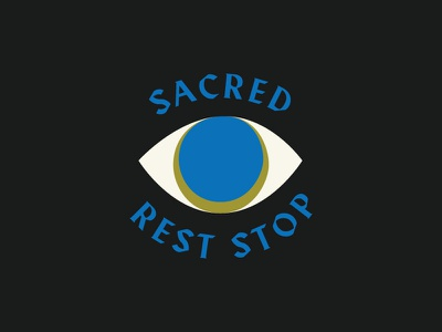 Sacred Rest Stop. green blue eye branding logo
