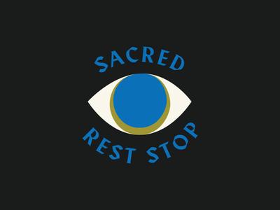 Sacred Rest Stop. green blue eye branding logo