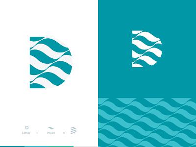 D logo design negative space abstract waves wave logo vector minimal icon graphic design flat design letter d